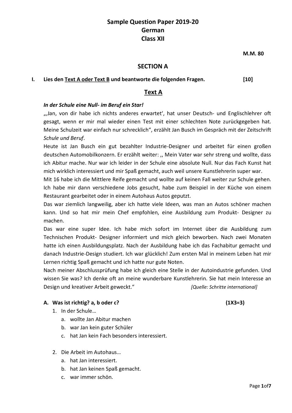 CBSE Sample Papers 2020 for Class 12 – German