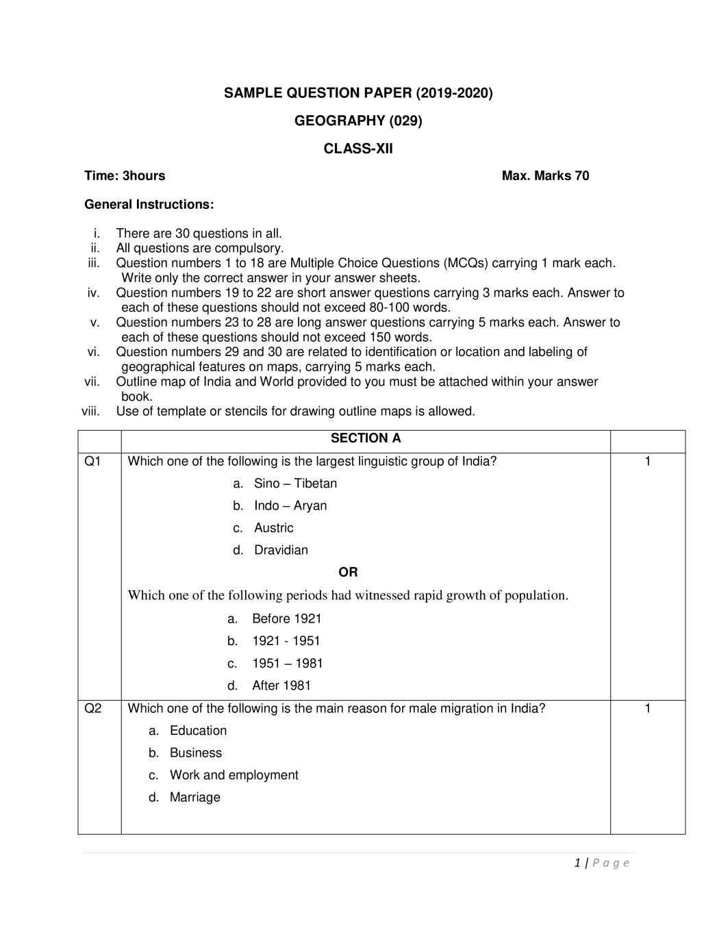 CBSE Sample Papers 2020 for Class 12 – Geography
