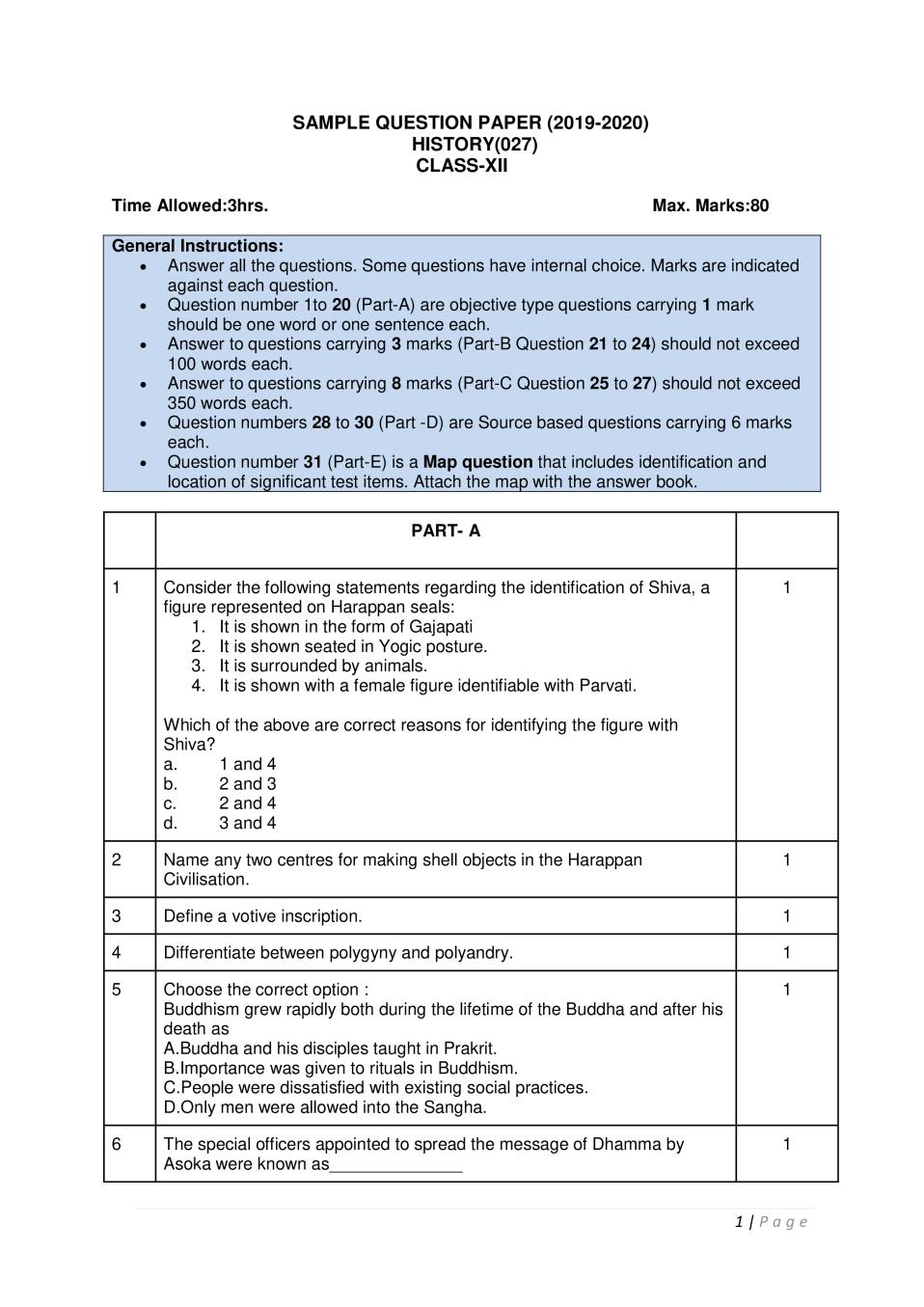 CBSE Sample Papers 2020 for Class 12 – History