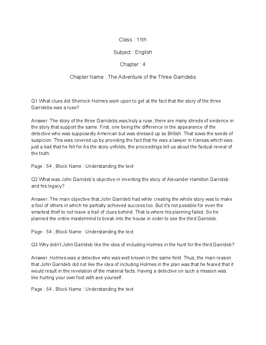 NCERT Solutions for Class 11 English Chapter 4 The Adventure of the Three Garridebs