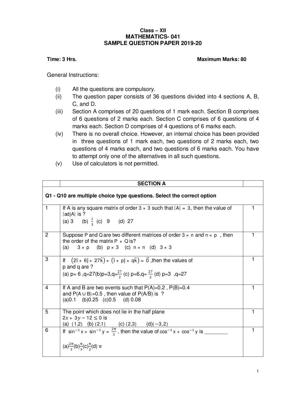 CBSE Sample Papers 2020 for Class 12 – Mathematics
