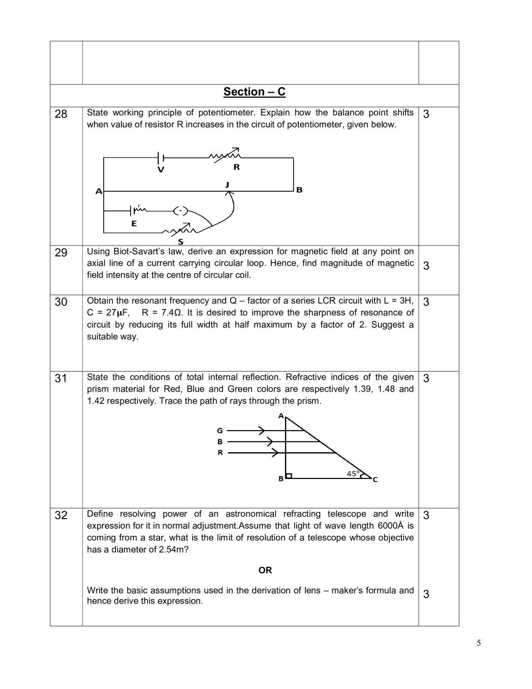 CBSE Sample Papers 2020 for Class 12 – Physics