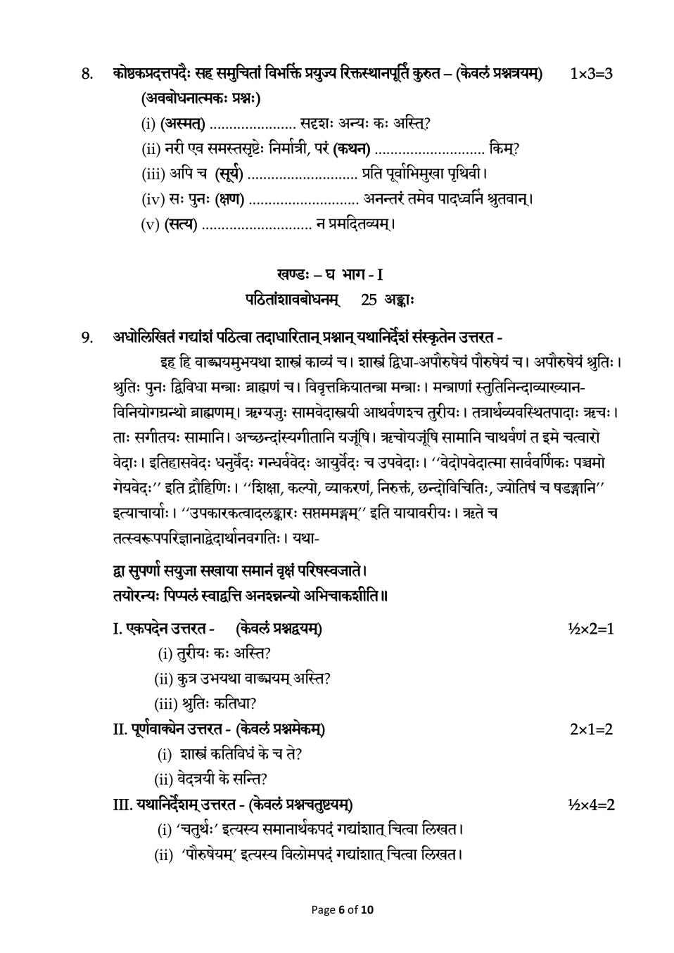 CBSE Sample Papers 2020 for Class 12 – Sanskrit (Core)