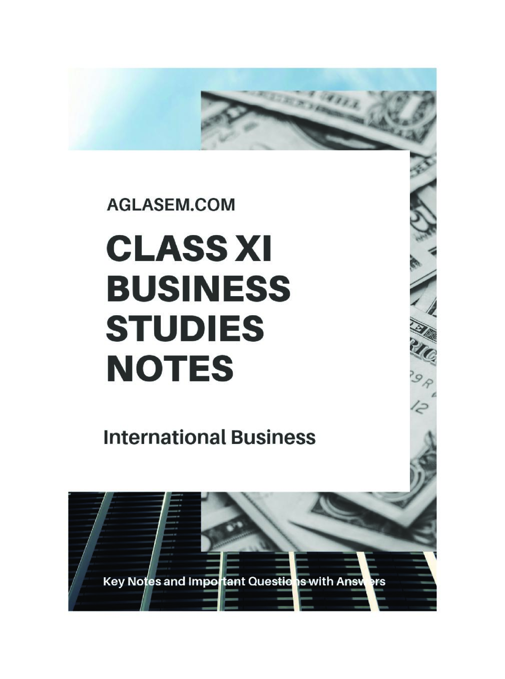 Class 11 Business Studies Notes for International Business