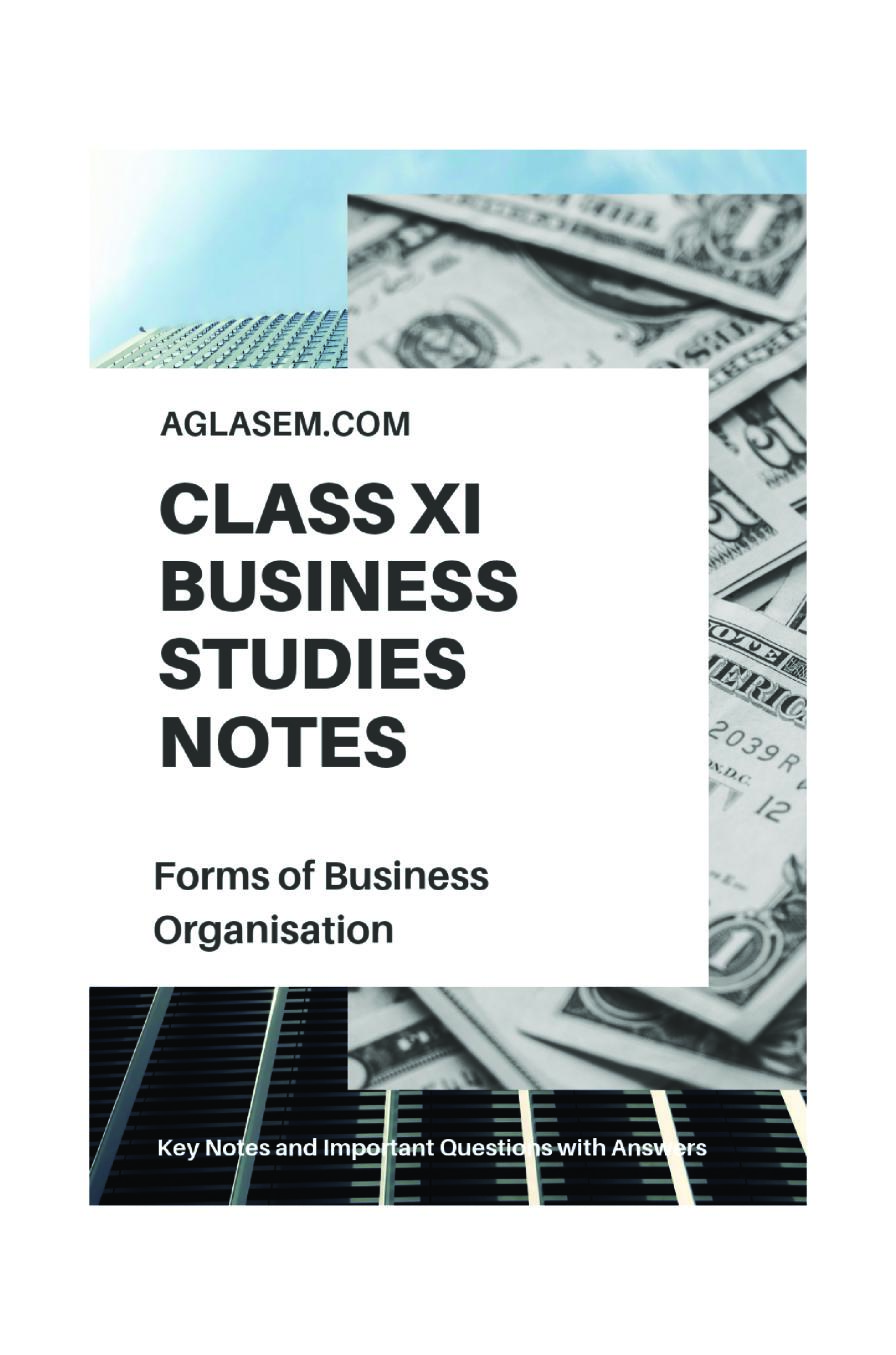 Class 11 Business Studies Notes for Forms of Business Organization