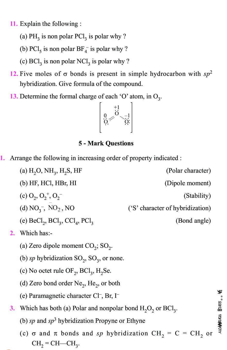 Class 11 Chemistry Notes For Chemical Bonding and Molecular
