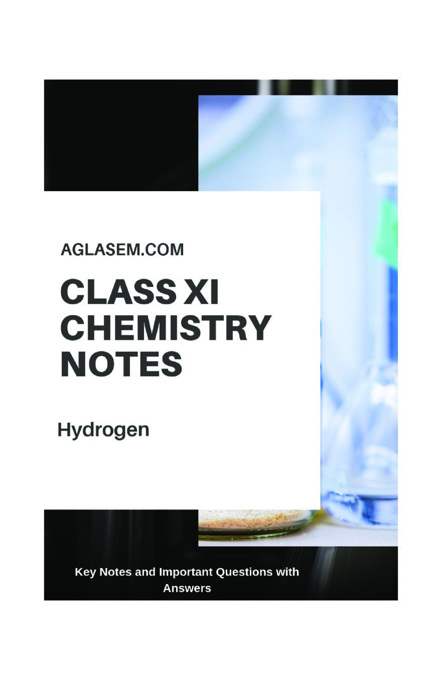 Class 11 Chemistry Notes For Hydrogen