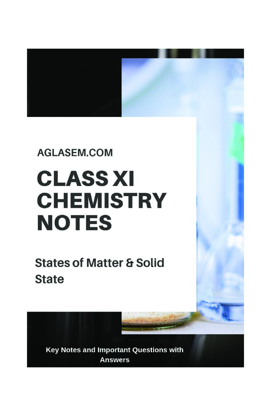 Class 11 Chemistry Notes For States of Matter
