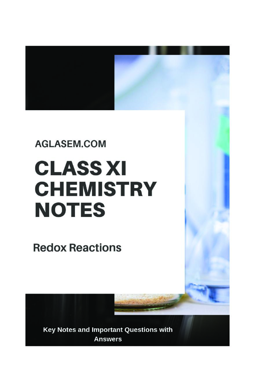 Class 11 Chemistry Notes For Redox Reactions