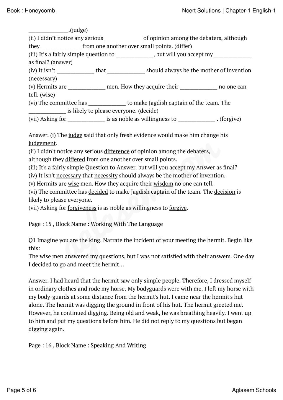 NCERT Solutions for Class 7 English Chapter 1 Three