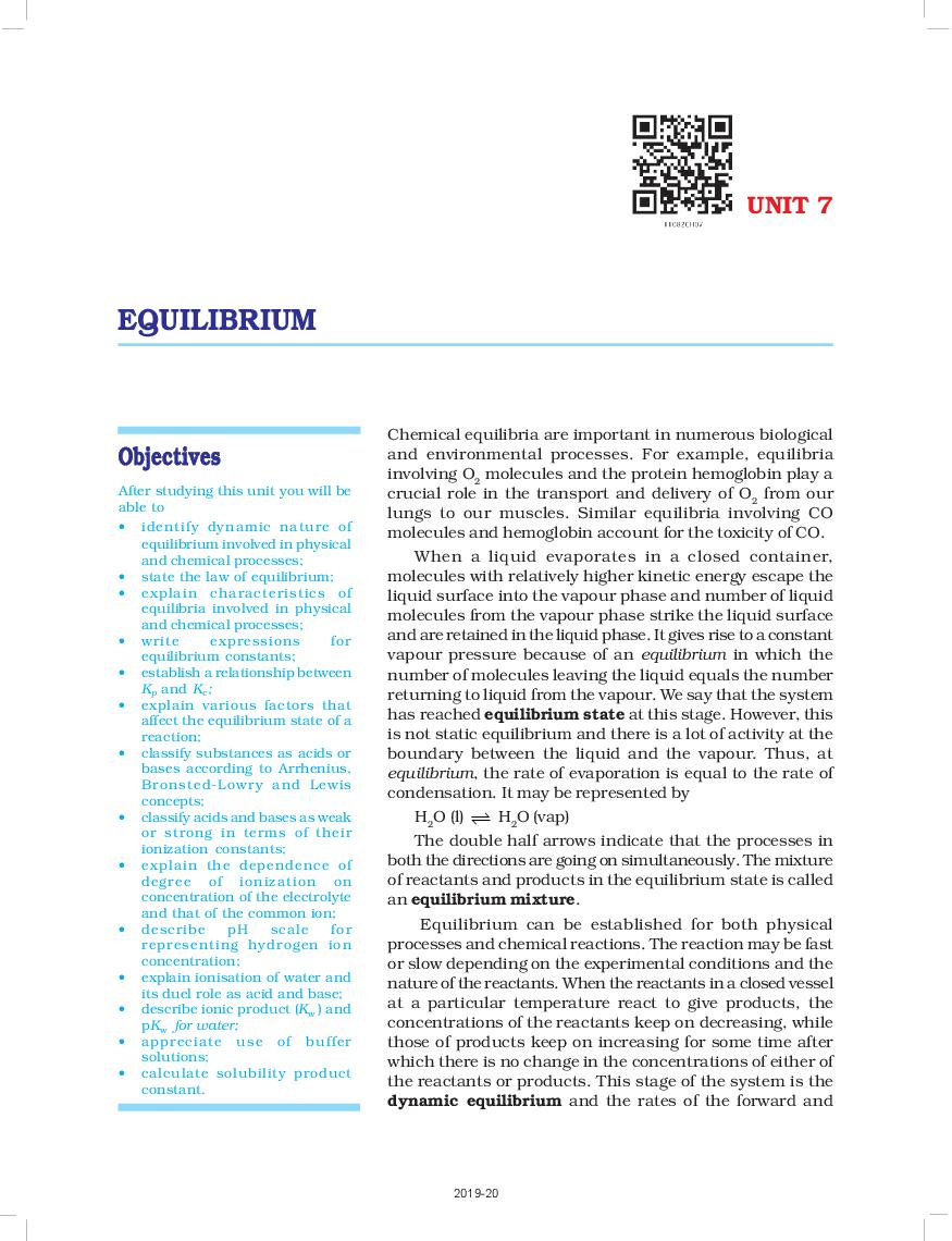 NCERT Book Class 11 Chemistry Chapter 7 Equilibrium