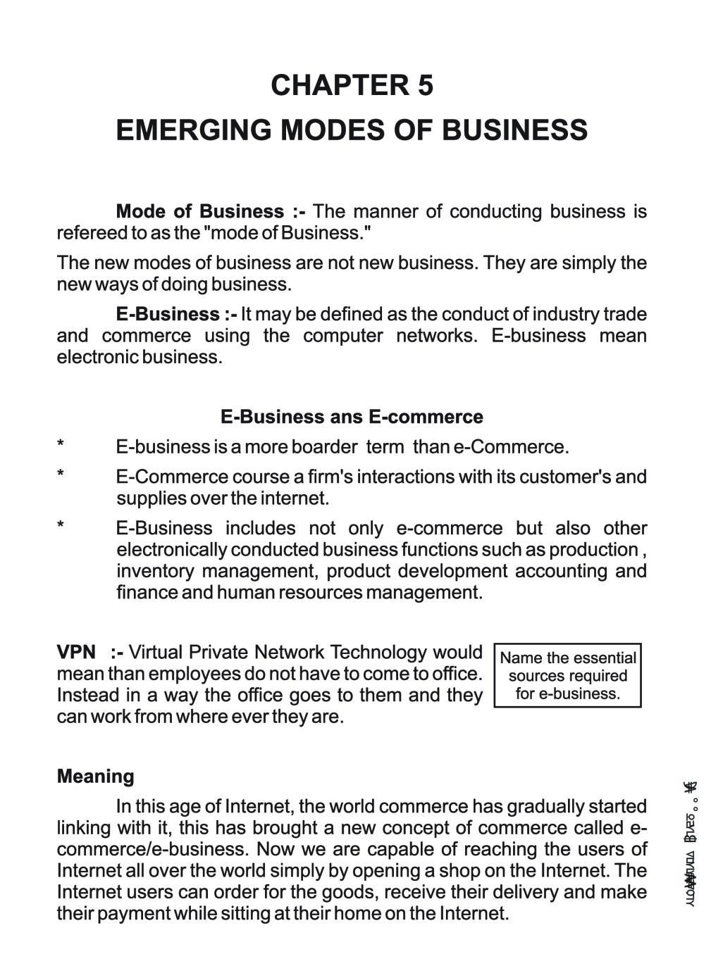Class 11 Business Studies Notes for Emerging Modes of