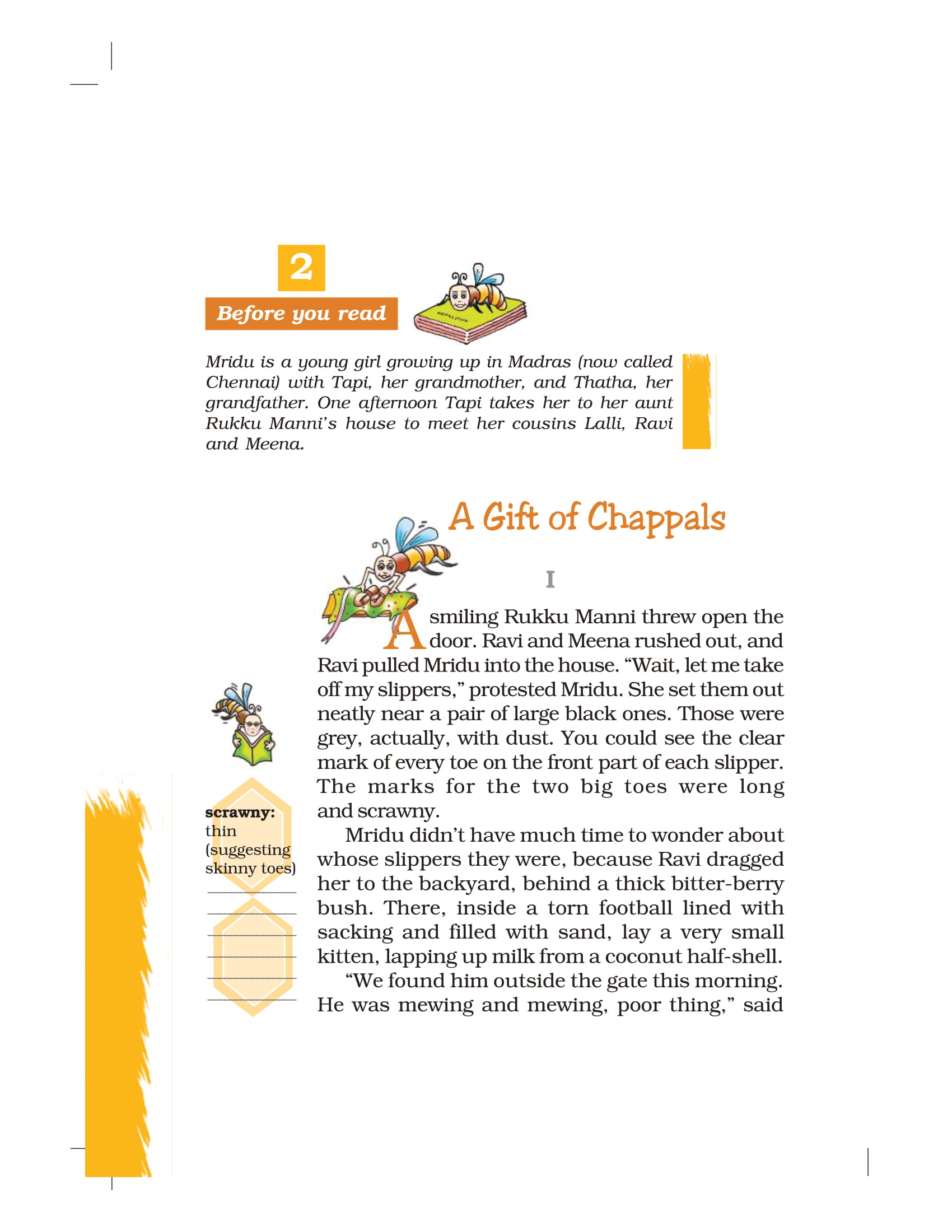 NCERT Book Class 7 English Honeycomb Chapter 2 A Gift of Chappals