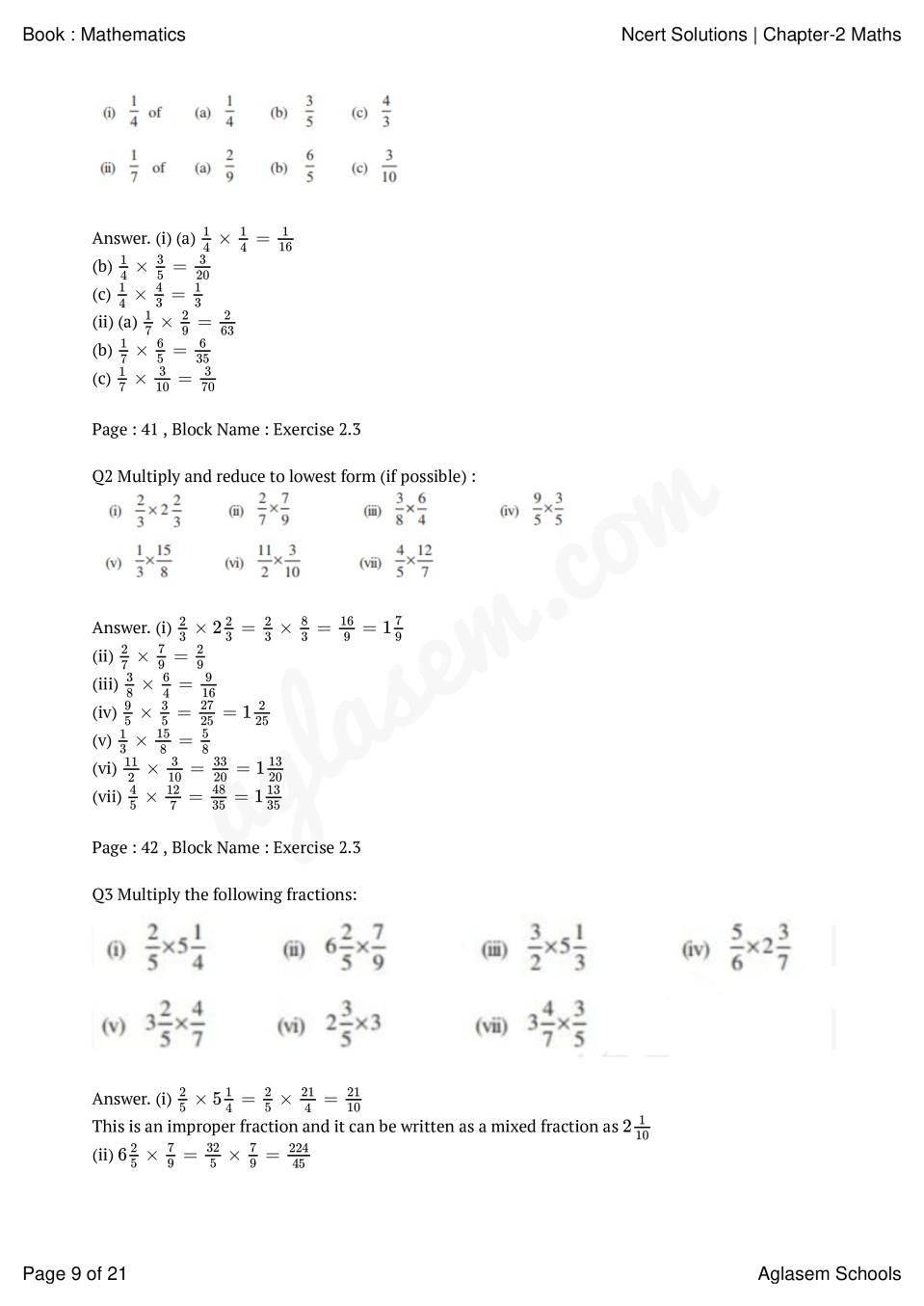 NCERT Solutions for Class 7 Maths Chapter 2 Fractions and