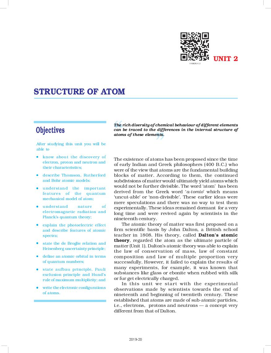 NCERT Book Class 11 Chemistry Chapter 2 Structure Of Atom