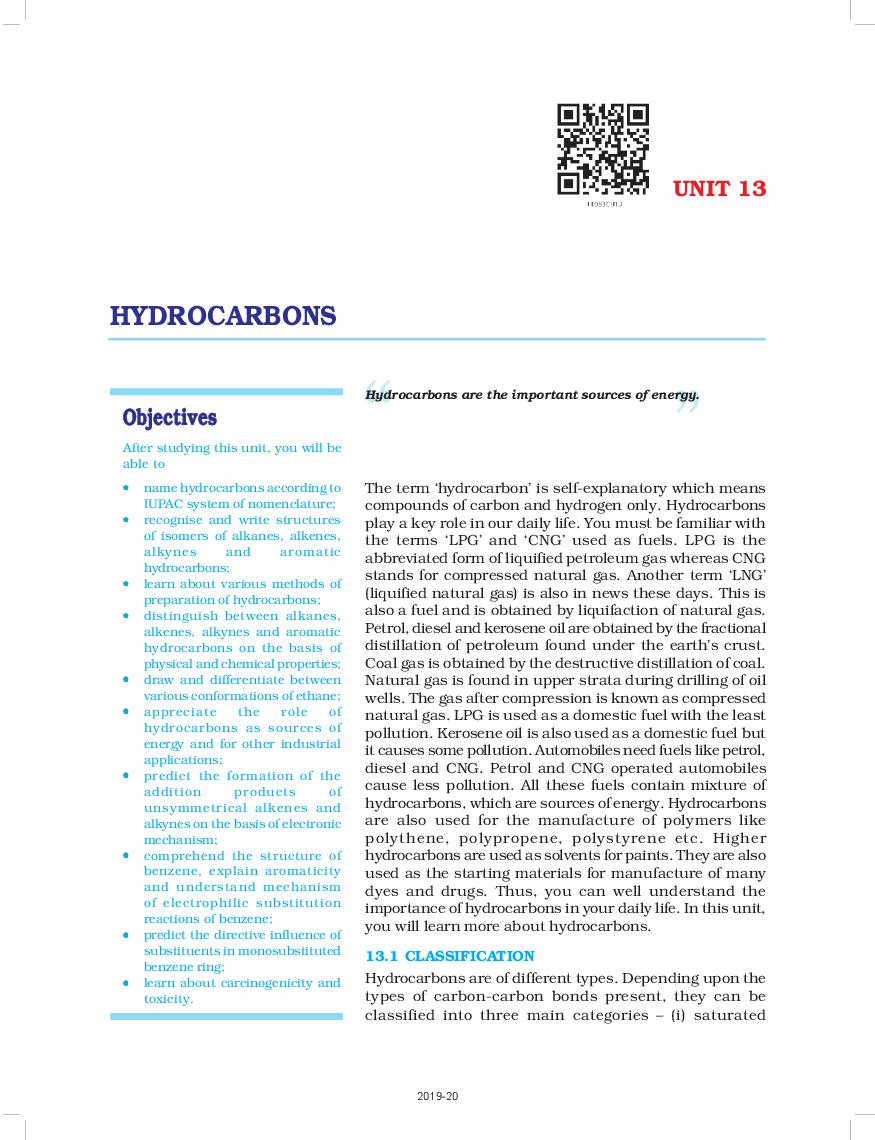 NCERT Book Class 11 Chemistry Chapter 13 Hydrocarbons