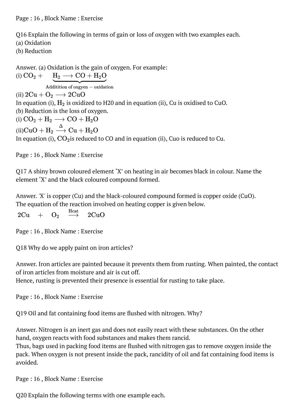 NCERT Solutions for Class 10 Science Chapter 1 Chemical