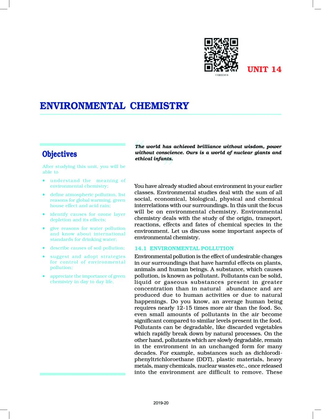 NCERT Book Class 11 Chemistry Chapter 14 Environmental Chemistry