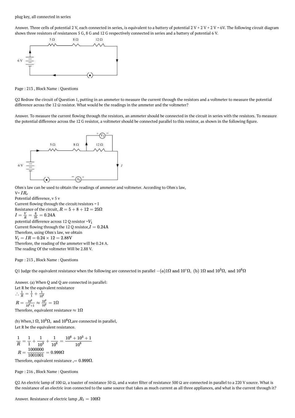 NCERT Solutions for Class 10 Science Chapter 12 Electricity