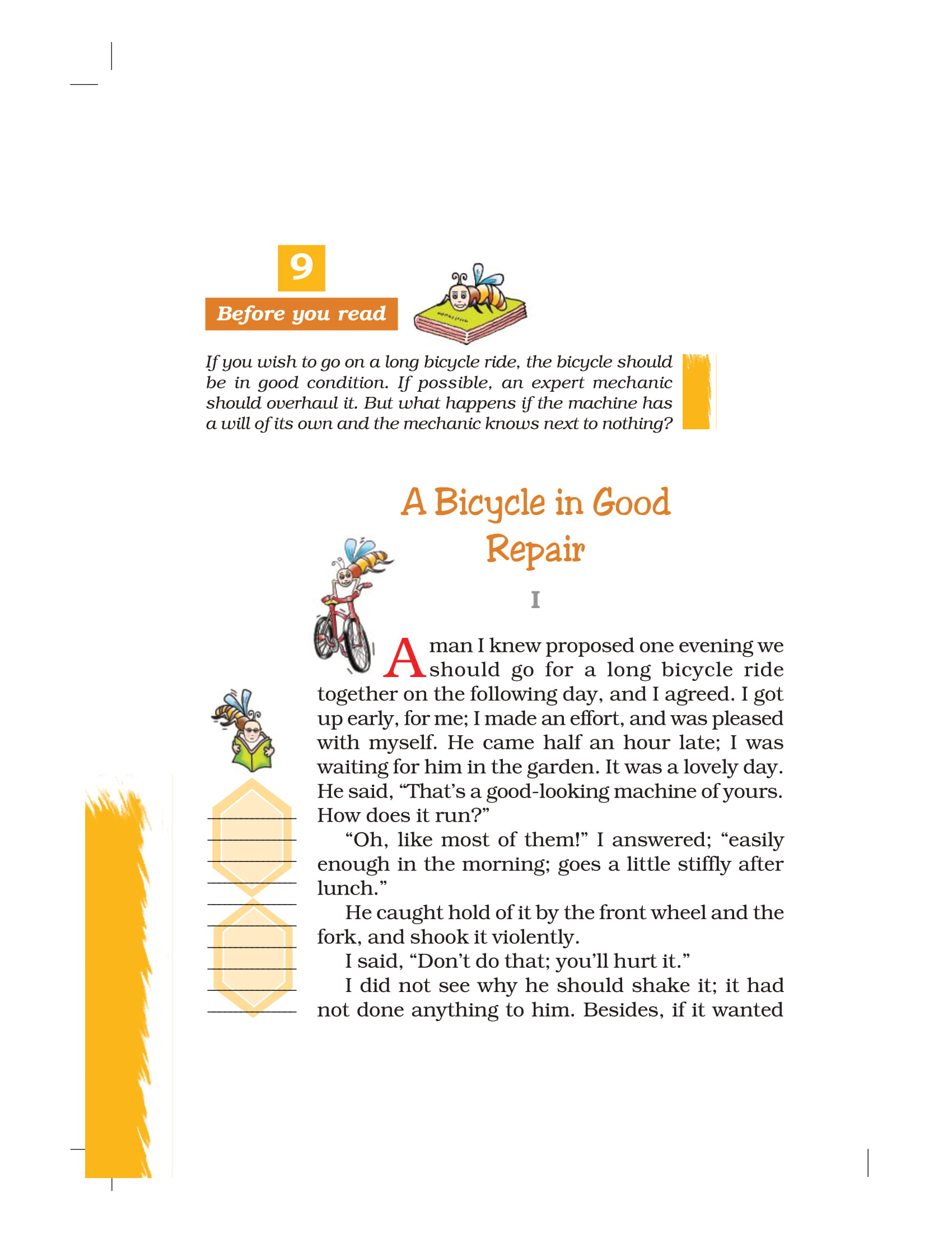 NCERT Book Class 7 English Honeycomb Chapter 9 A Bicycle in Good Repair