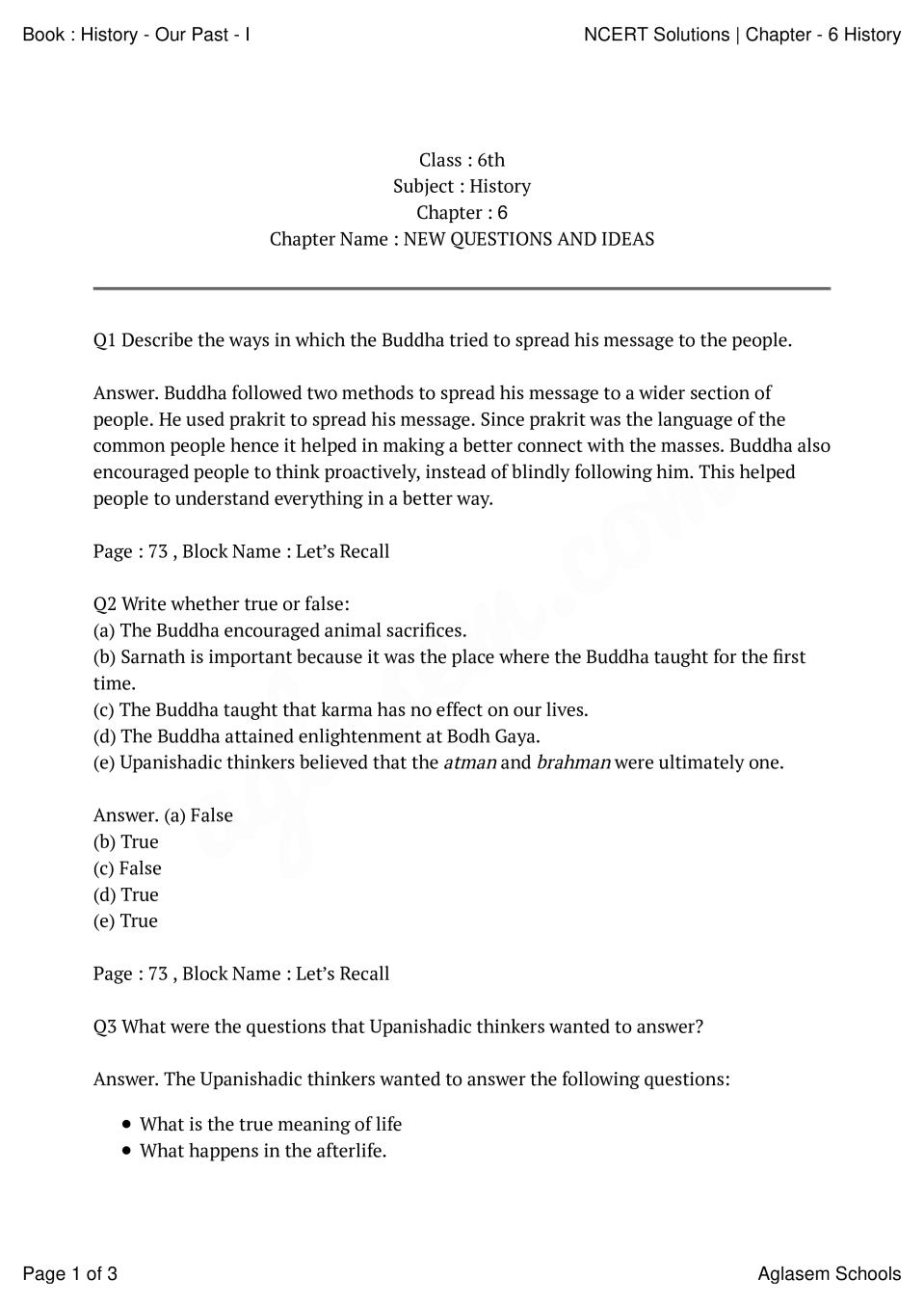 NCERT Solutions Class 6 History Chapter 6 New Questions And