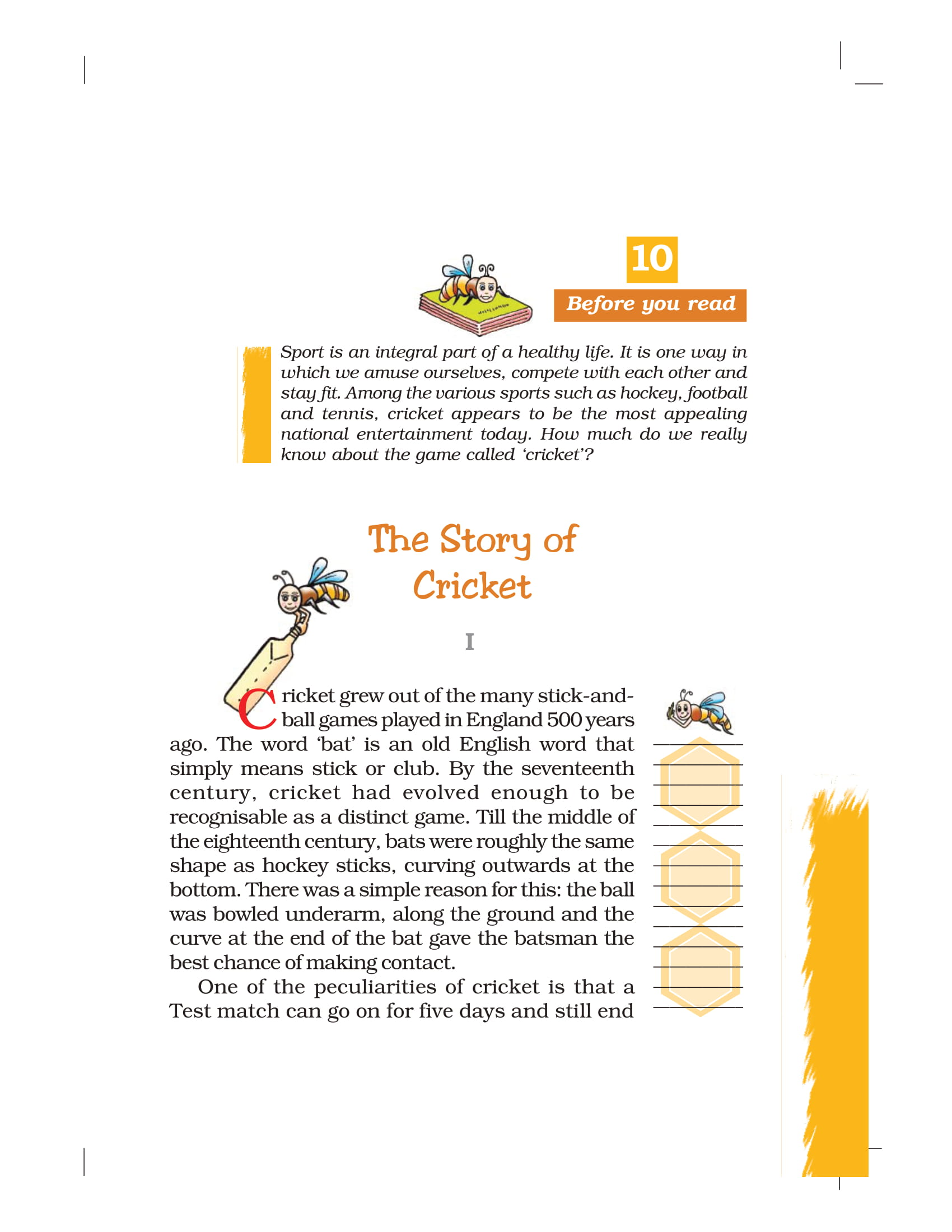 NCERT Book Class 7 English Honeycomb Chapter 10 The Story of Cricket
