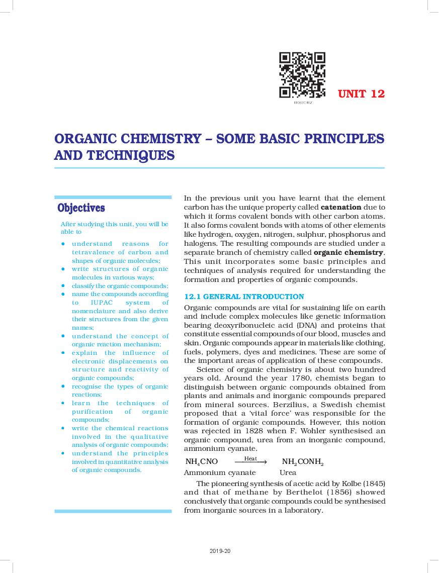 NCERT Book Class 11 Chemistry Chapter 12 Organic Chemistry- Some Basic Principles And Techniques