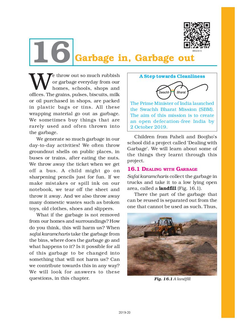 NCERT Book Class 6 Science Chapter 16 Garbage in, Garbage out