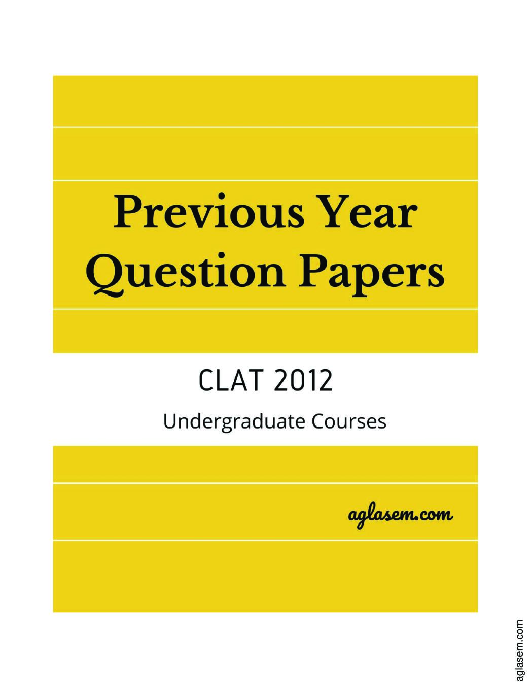 CLAT 2012 Question Paper
