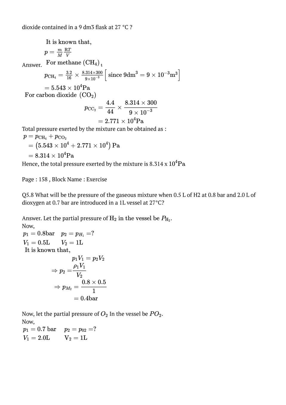 NCERT Solutions for Class 11 Chemistry Chapter 5 States of