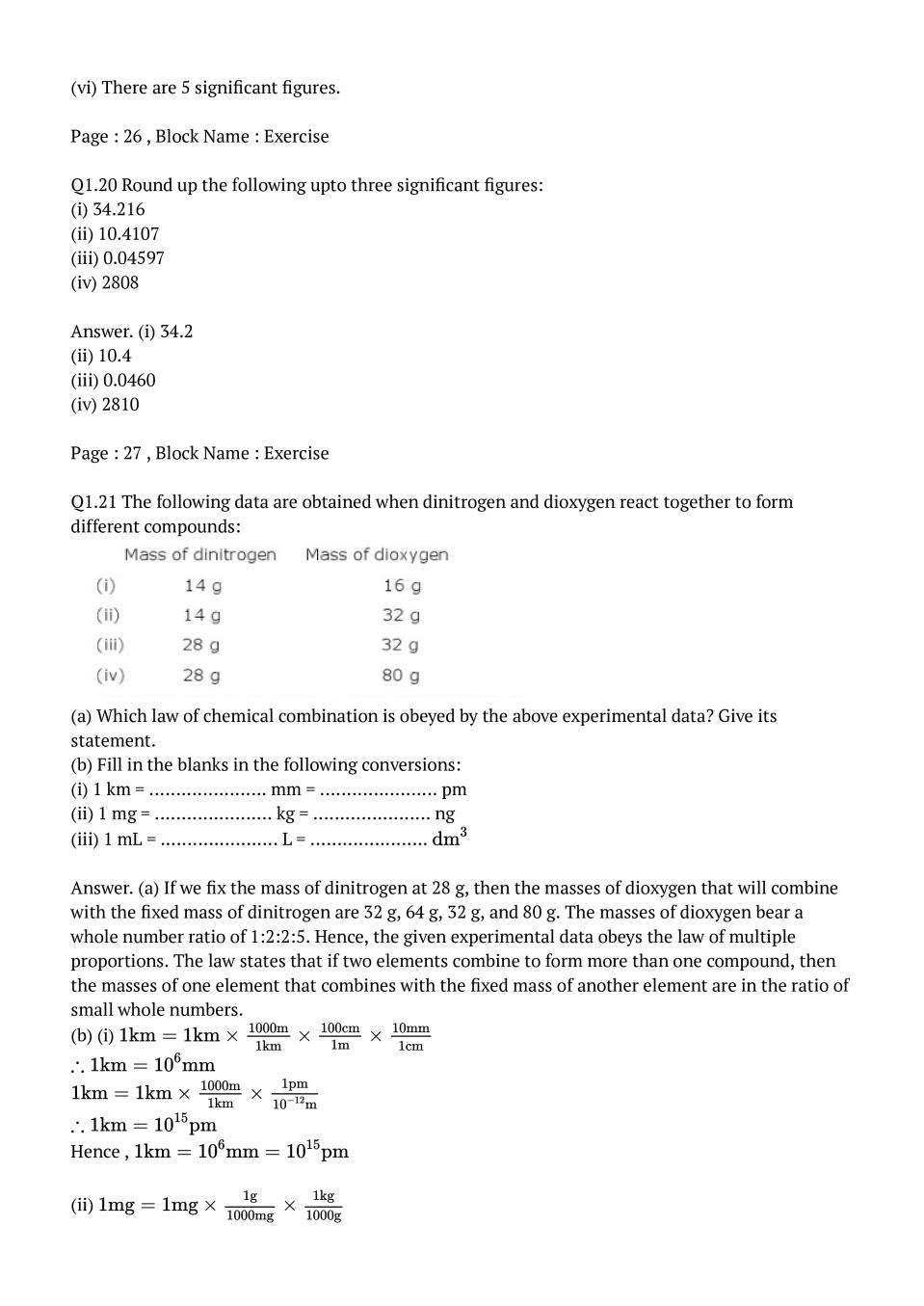 NCERT Solutions for Class 11 Chemistry Chapter 1 Some Basic