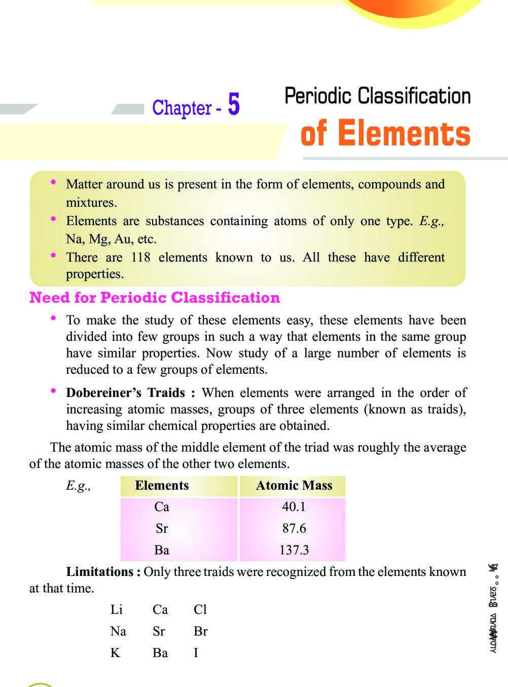 Class 10 Science Periodic Classifications of Elements Notes