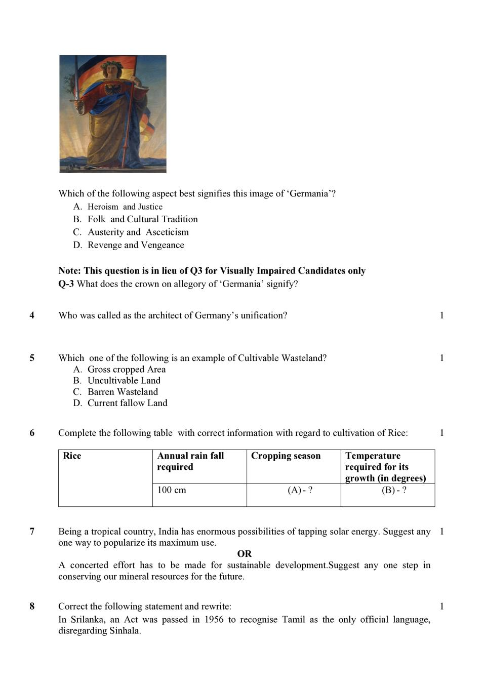 CBSE Class 10 Social Science Sample Paper 2020 published at cbseacademic.nic.in