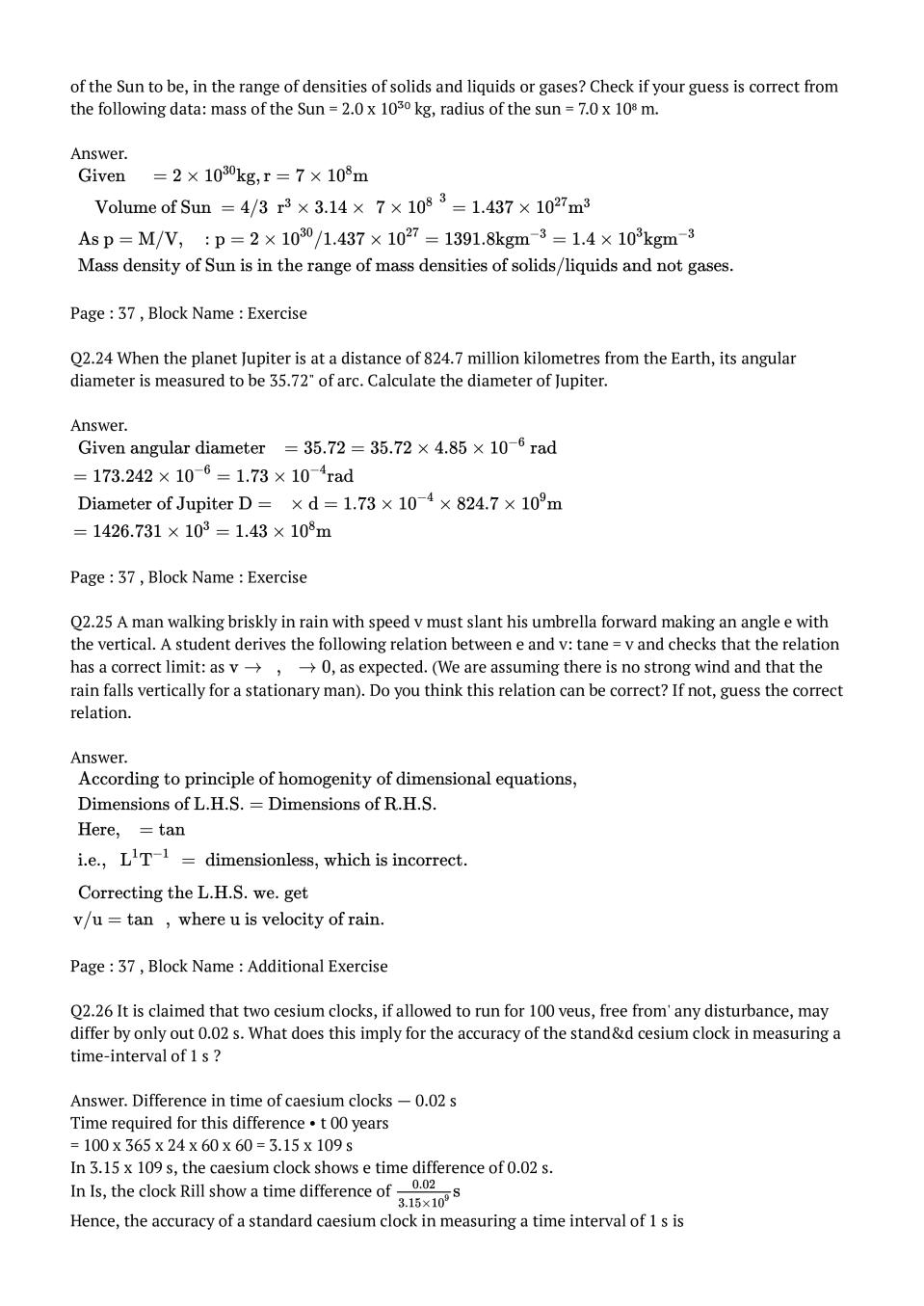 NCERT Solutions for Class 11 Physics Chapter 2 Units And