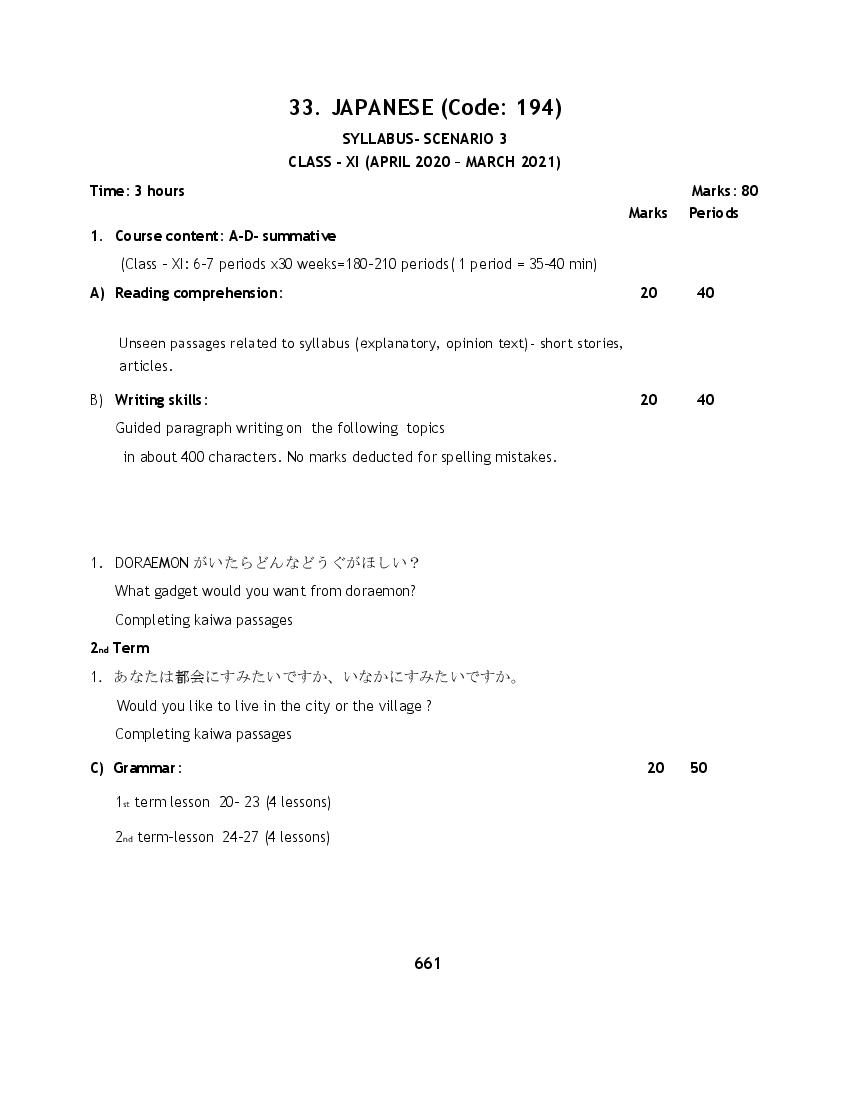 CBSE Syllabus for Class 11 Japanese 2020-21 [Revised]
