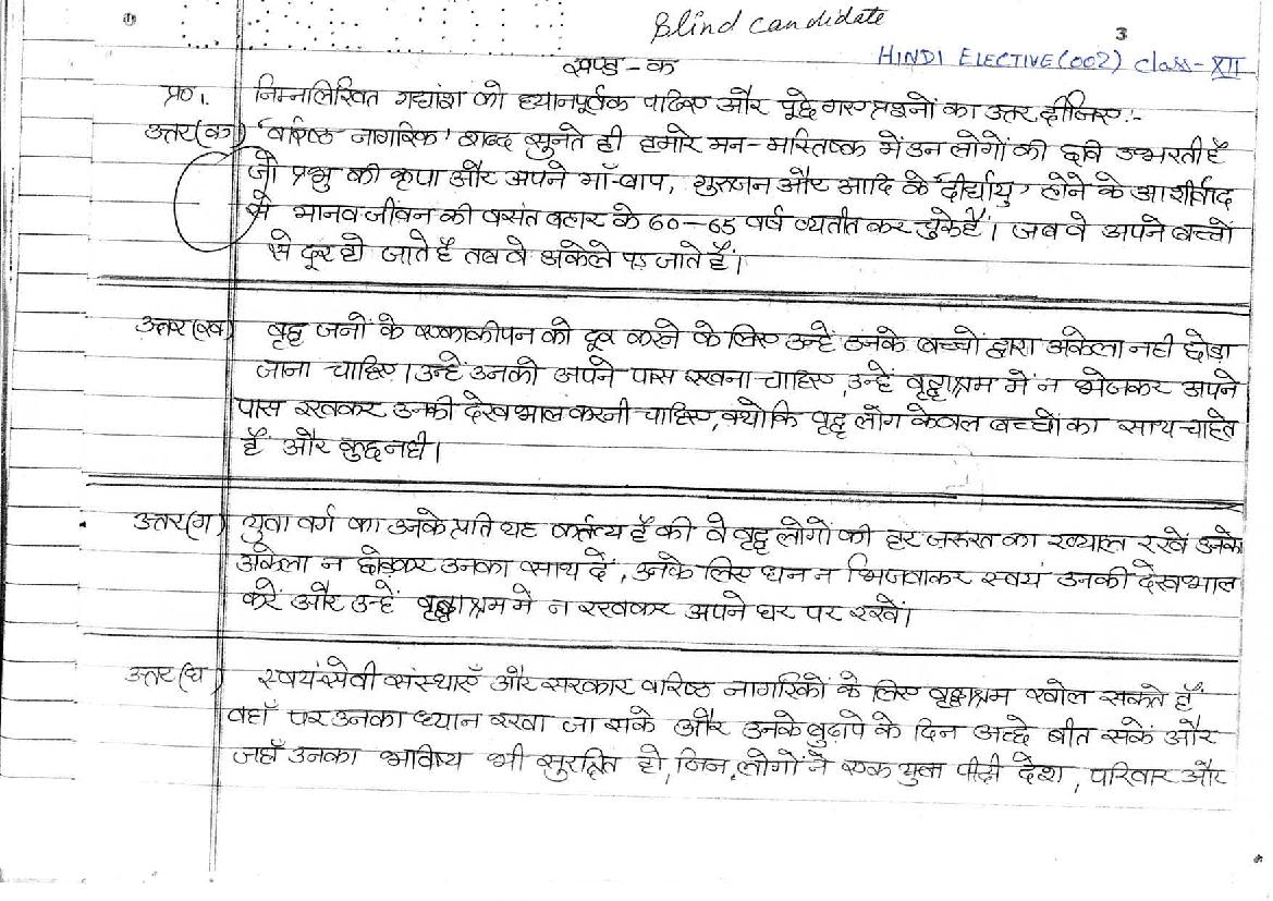 CBSE Class XII Board Exam Model Answer Sheet for Hindi (Elective)