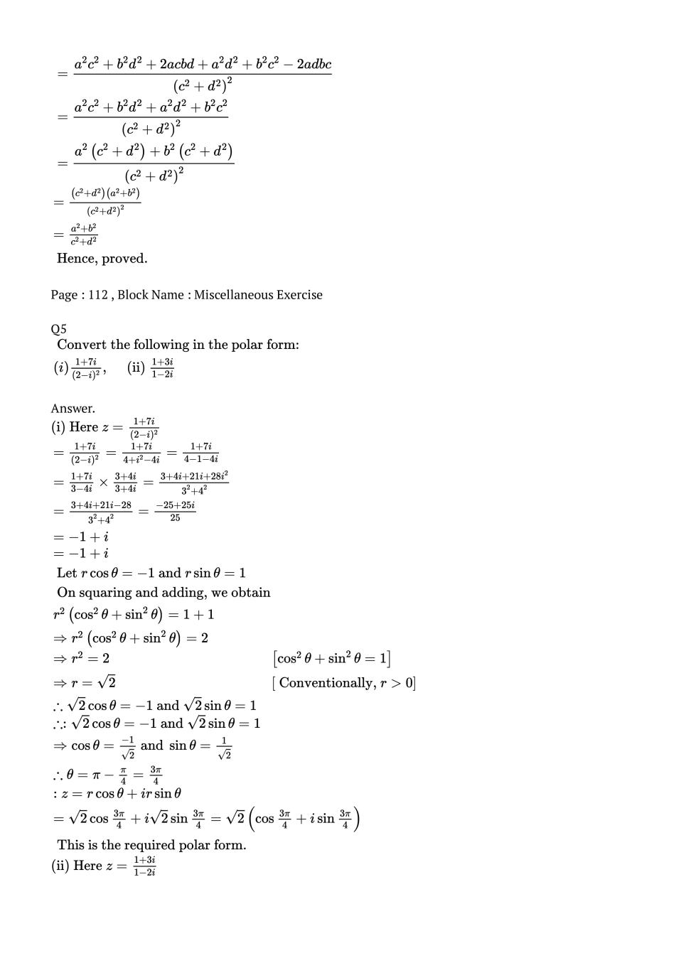 NCERT Solutions for Class 11 Maths Chapter 5 Complex Number