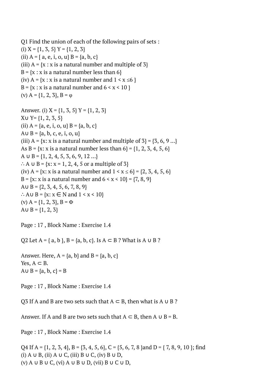 NCERT Solutions for Class 11 Maths Chapter 1 Set – NCERT