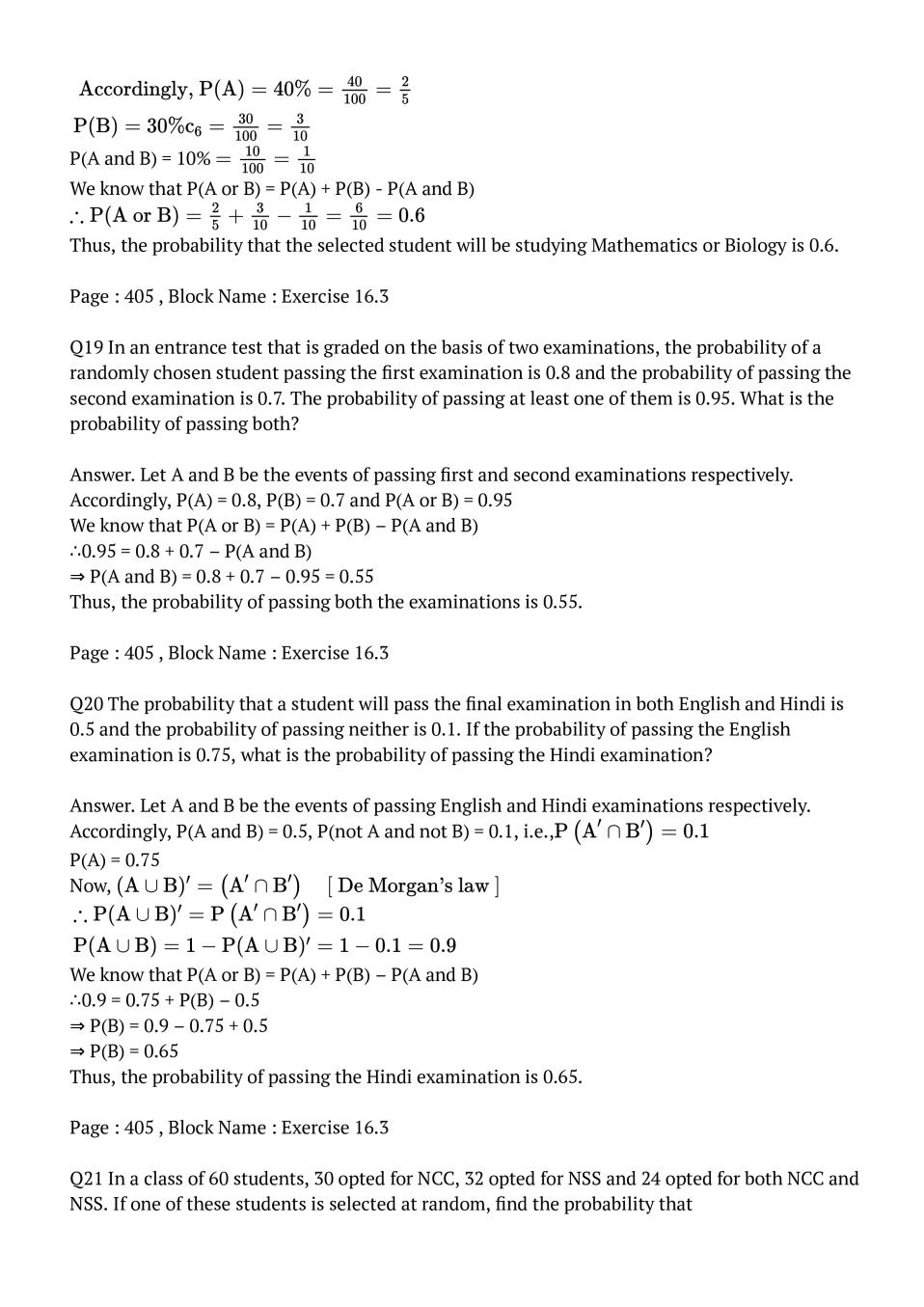 NCERT Solutions for Class 11 Maths Chapter 16 Probability