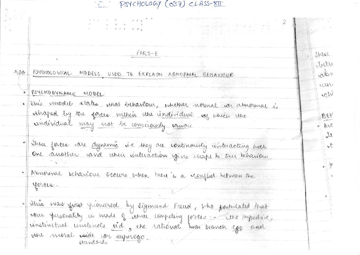 CBSE Class XII Board Exam Model Answer Sheet for Psychology