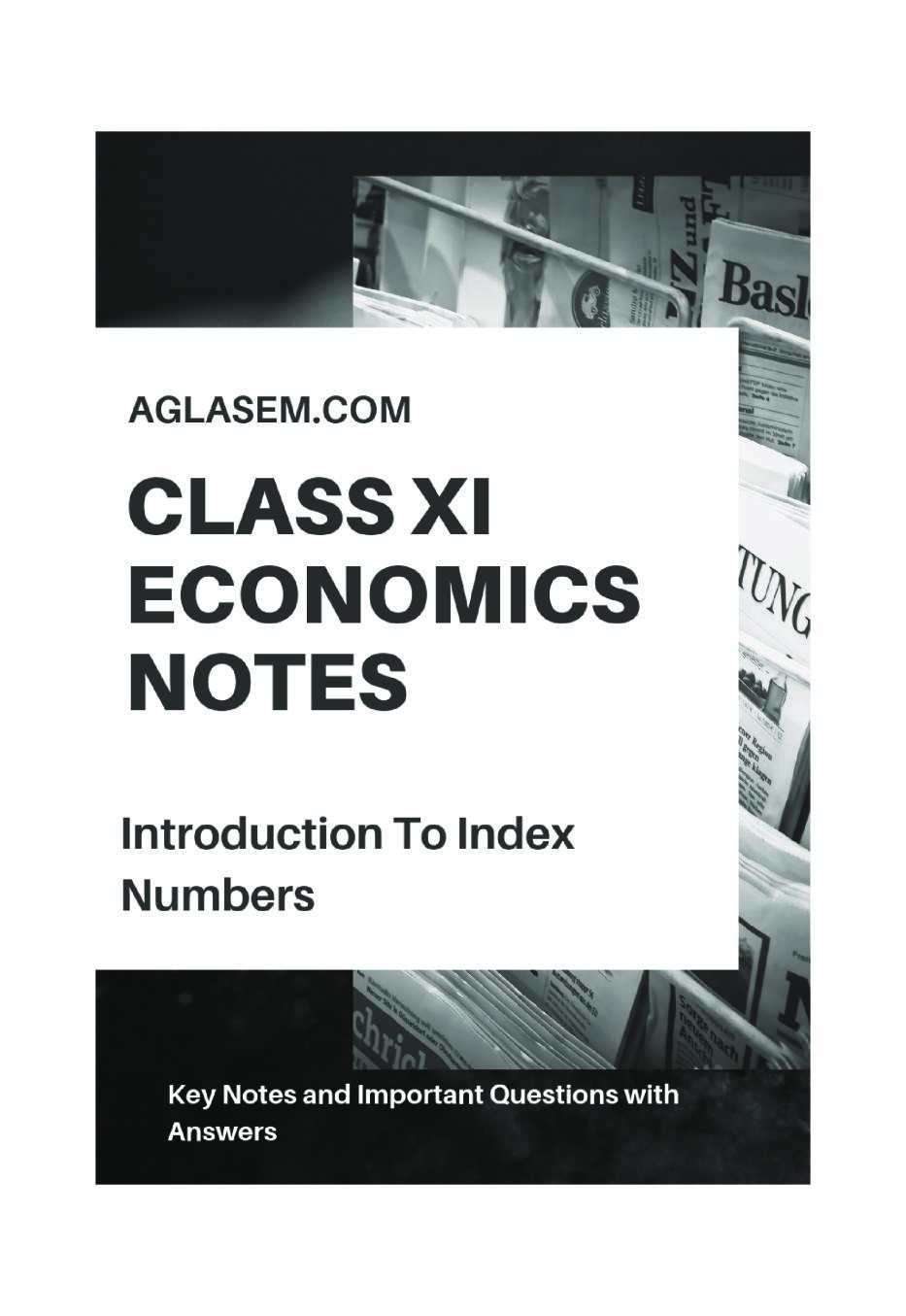 Class 11 Economics Notes for Introduction to Index Numbers
