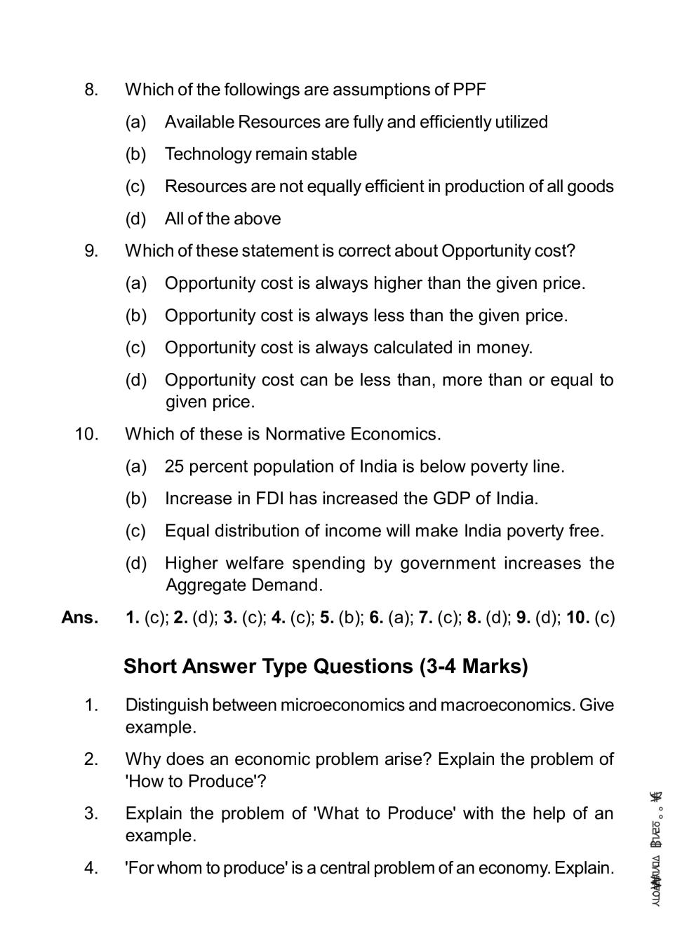Class 11 Economics Notes for Introductory Microeconomics