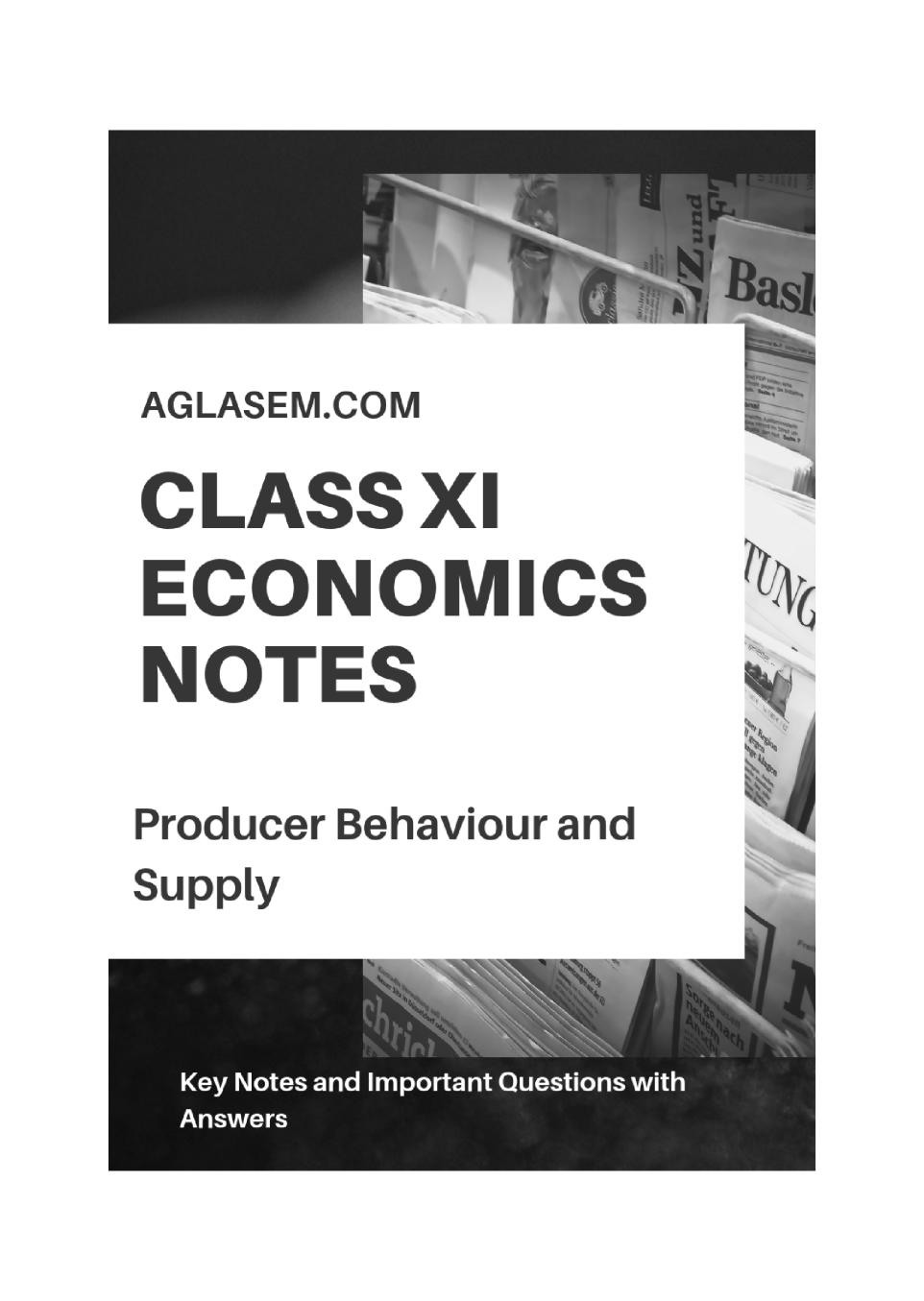 Class 11 Economics Notes for Producer Behaviour and Supply