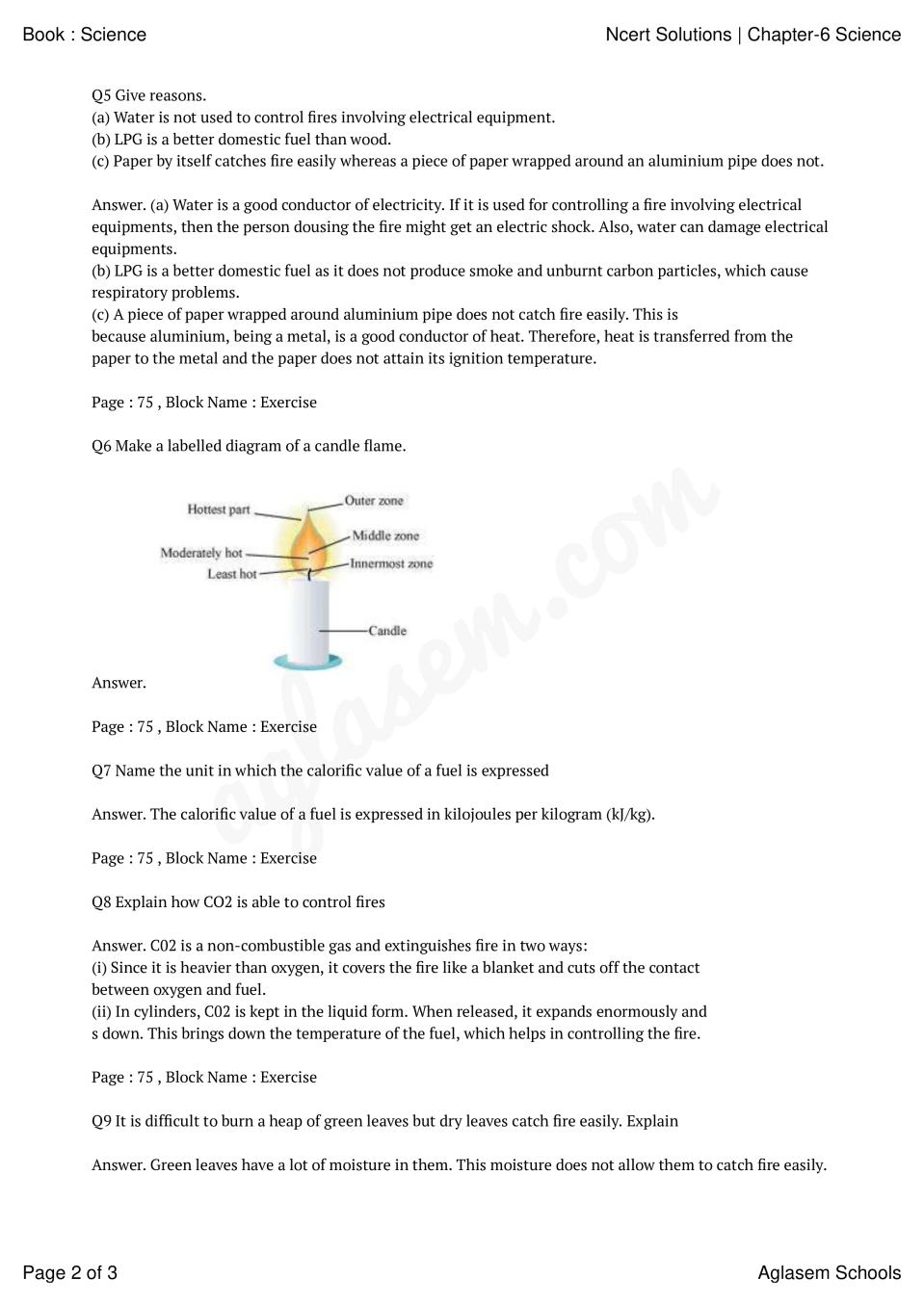 NCERT Solutions for Class 8 Science Chapter 6 Combustion and