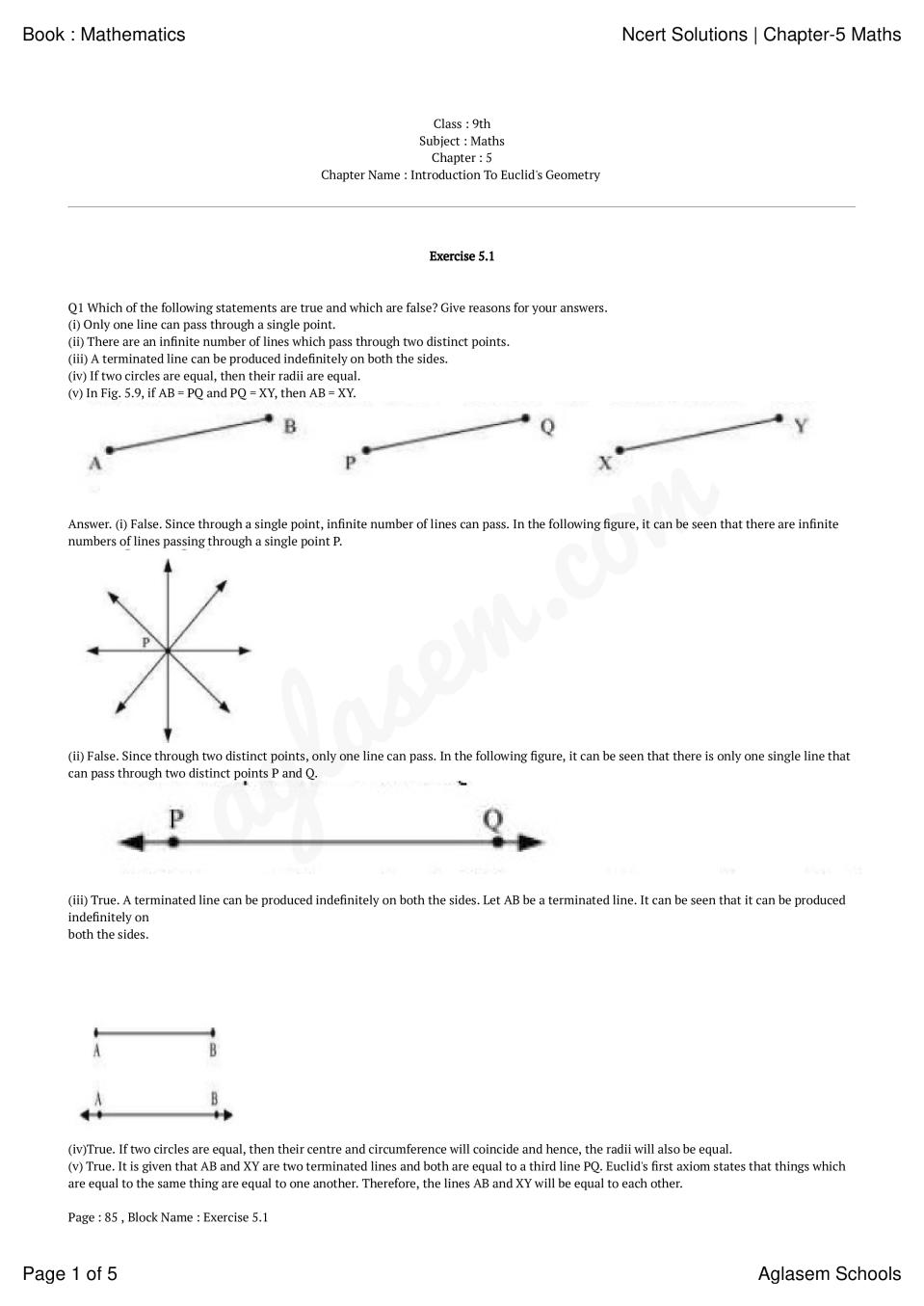 NCERT Solutions for Class 9 Maths Chapter 5 Introduction To