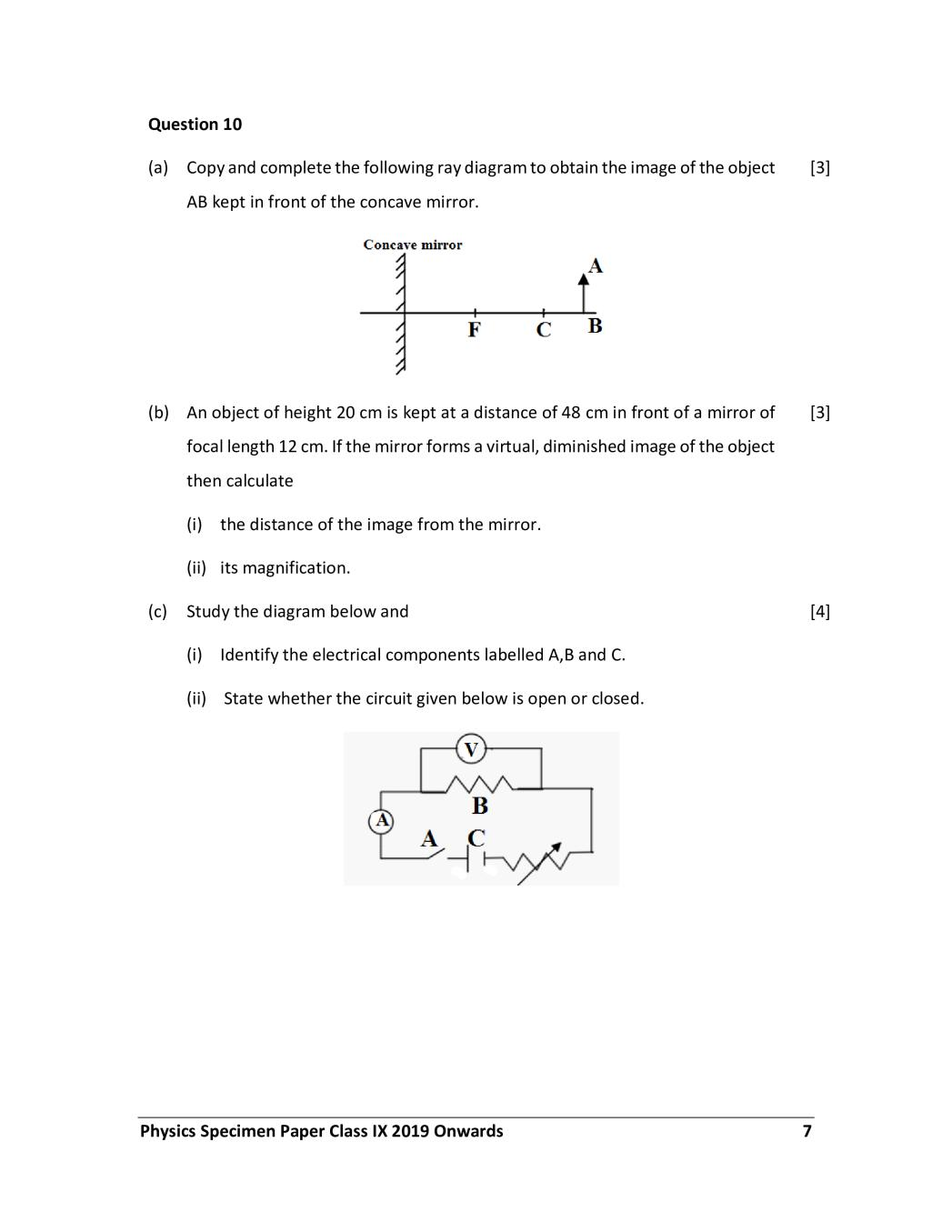 ICSE Class 9 Sample Paper 2020 – Physics (Science Paper 1