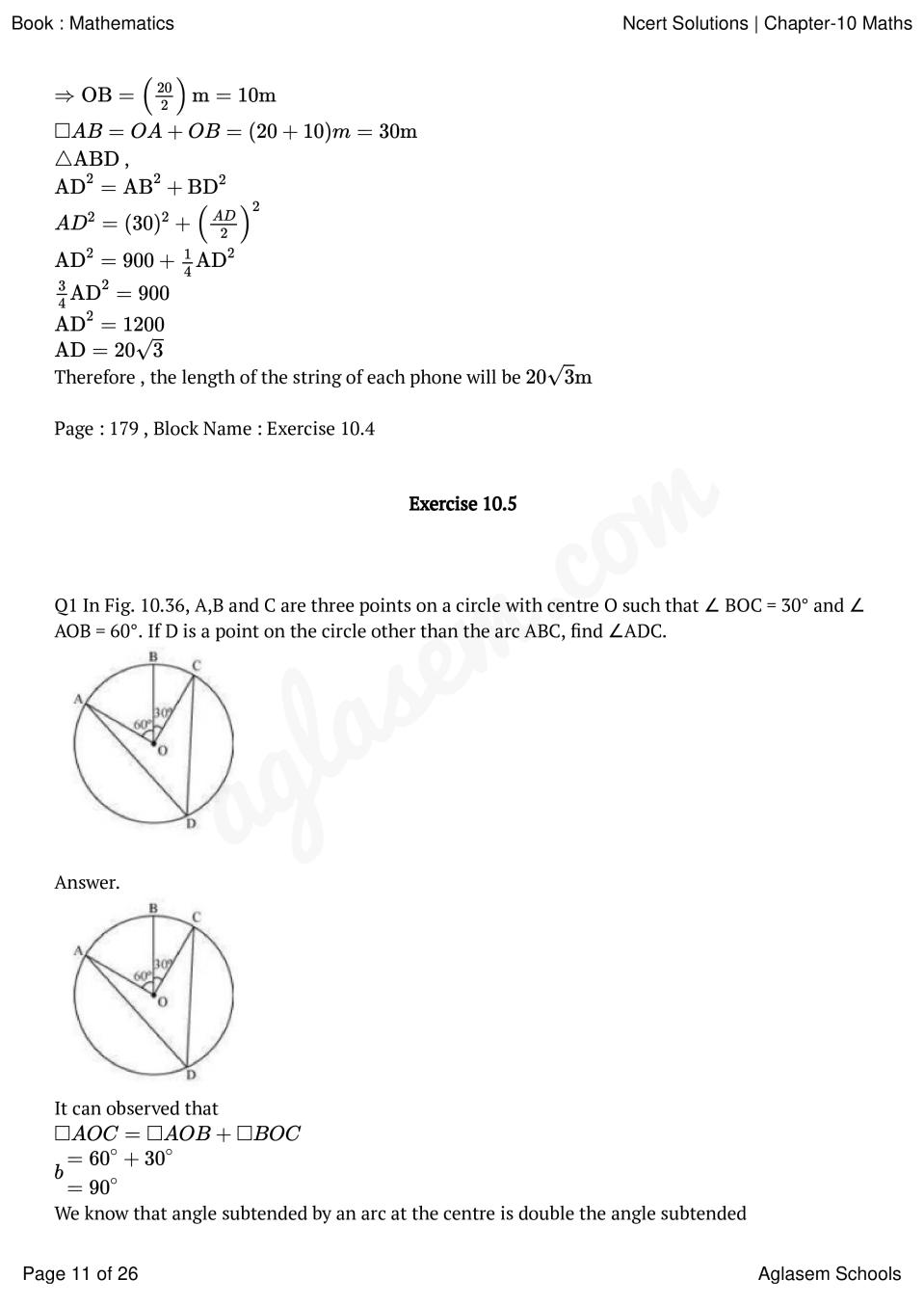NCERT Solutions for Class 10 Maths Chapter 10 Circles