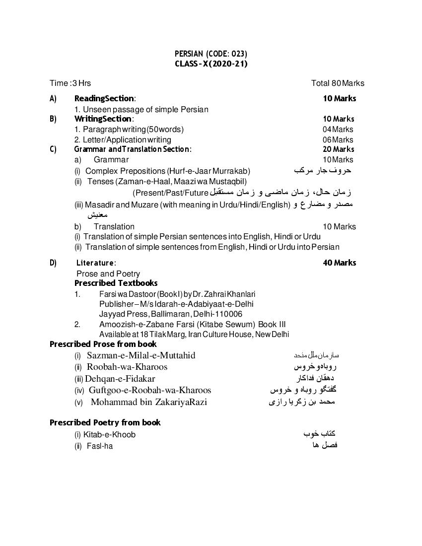 CBSE Syllabus for Class 10 Persian 2020-21 [Revised]