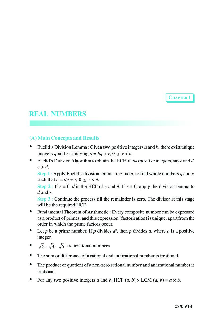 NCERT Book Class 10 Maths Chapter 1 Real Numbers