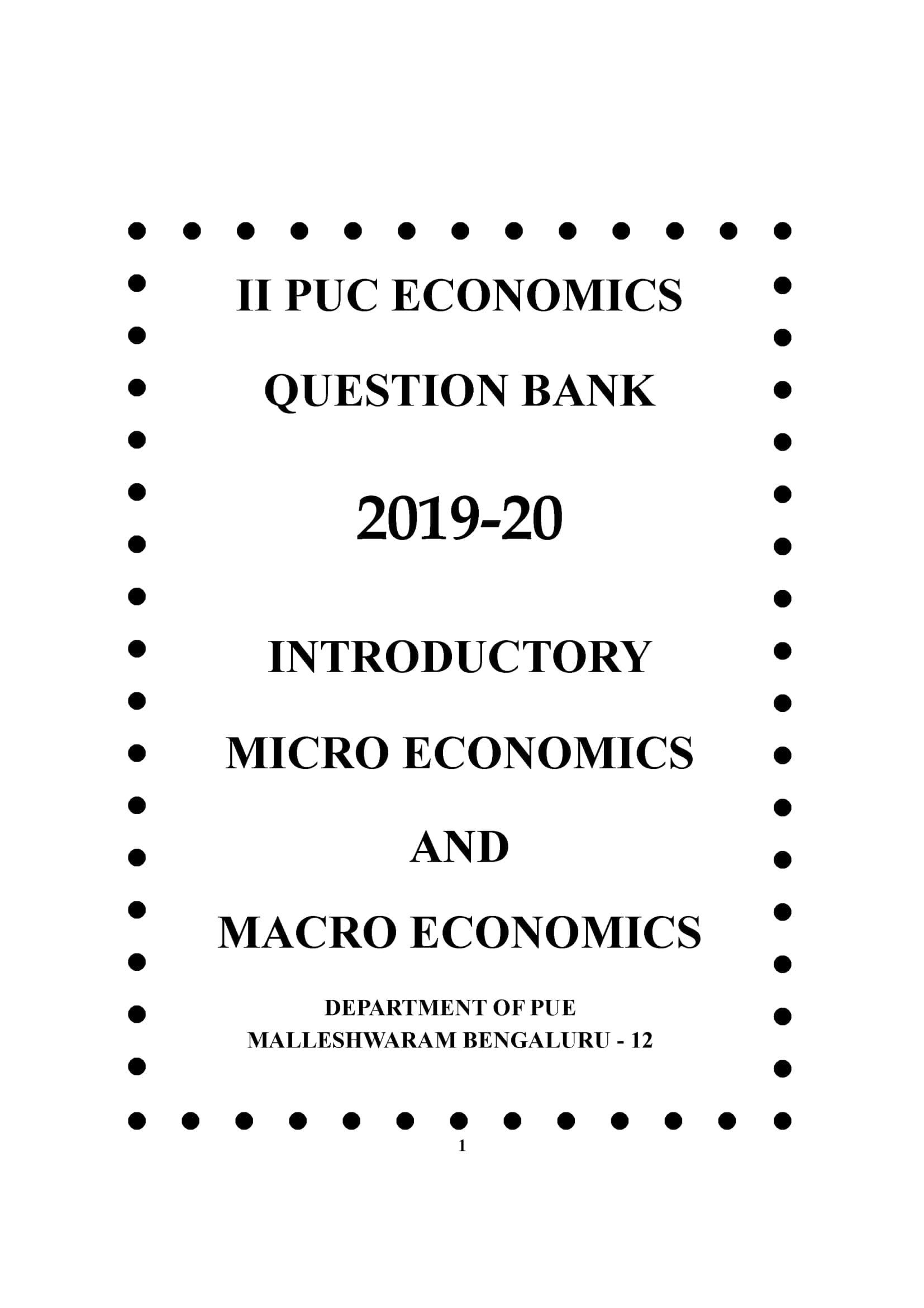 Karnataka 2nd PUC Question Bank for Economics